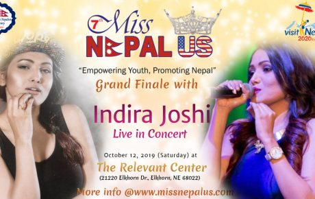 Celebrity Performer, Indira Joshi live in concert at Grand Finale of 7th Miss Nepal US on October 12