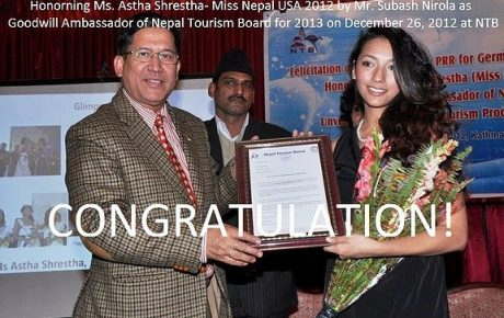 Press Release: Miss Nepal USA 2012 – Astha Shrestha appointed as Honarary Goodwill Ambassador of NTB